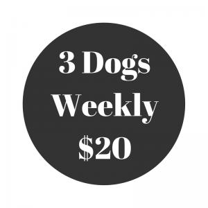 Three Dogs Scoop Poop Weekly